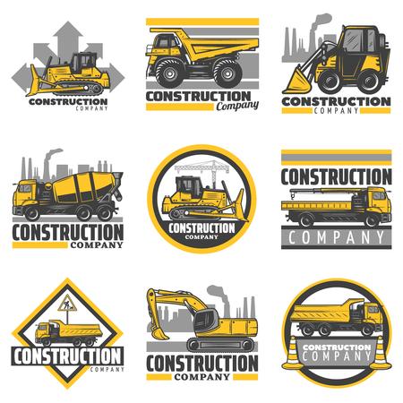 Illustration pour Vintage colored construction vehicles emblems set with bulldozer excavator concrete mixer dump building trucks isolated vector illustration - image libre de droit