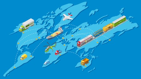Illustration pour Isometric global logistic transportation network with air water land and railway vehicles on world map. Isolated vector illustration. - image libre de droit