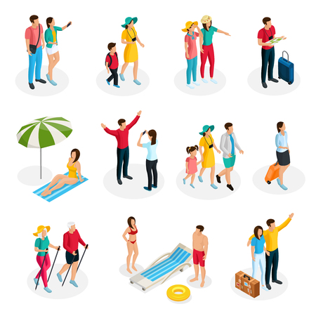 Ilustración de Isometric travelers characters set with tourists and family on summer vacation in different situations isolated vector illustration - Imagen libre de derechos