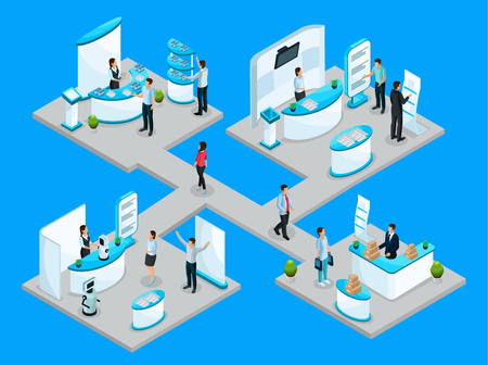 Illustration pour Isometric expocenter concept with companies advertising their products using promotional stands and demonstration equipment isolated vector illustration - image libre de droit