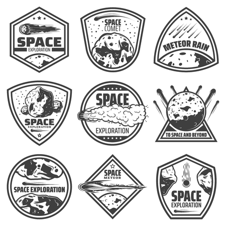 Ilustración de Vintage monochrome comets labels set with inscriptions falling meteors asteroids and meteorites isolated vector illustration - Imagen libre de derechos