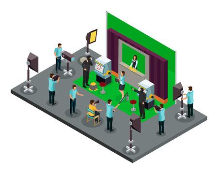 Ilustración de Isometric filming process concept with director operators illuminators and actors making robbery scene of movie vector illustration - Imagen libre de derechos