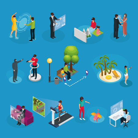 Illustration pour Isometric modern innovative technology set with people using virtual reality mask in different situations isolated vector illustration - image libre de droit