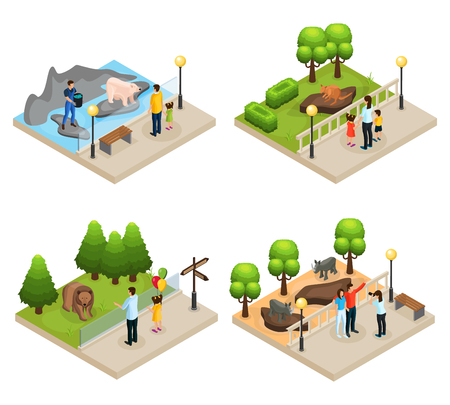 Illustration pour Isometric zoo concept with parents children watching kangaroo rhinoceros polar and gray bears isolated vector illustration - image libre de droit