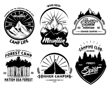 Illustration pour Outdoor camping labels set with mountains forest and tent in vintage style isolated vector illustration - image libre de droit