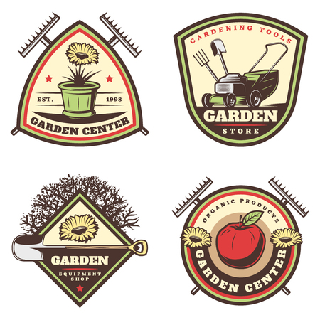 Illustration for Vintage colored gardening emblems set with flowers pot rake lawm mower shovel apple tree pitchfork isolated vector illustration - Royalty Free Image