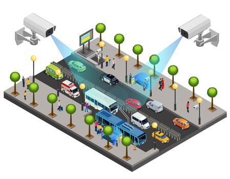 Illustration pour Isometric city security system concept with cctv cameras for monitoring and surveillance on road isolated vector illustration  - image libre de droit