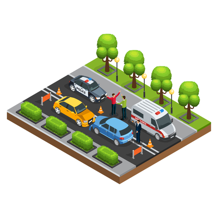Illustration for Isometric car accident concept with automobile crash arguing drivers police and ambulance vehicles on road isolated vector illustration - Royalty Free Image