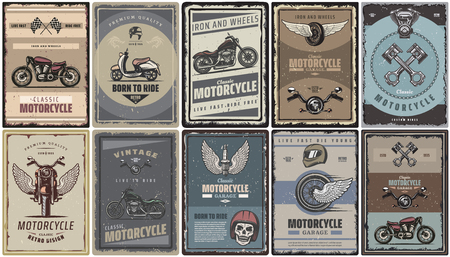 Ilustración de Vintage colored motorcycle posters set with classic motorbikes scooter moto parts vector illustration - Imagen libre de derechos