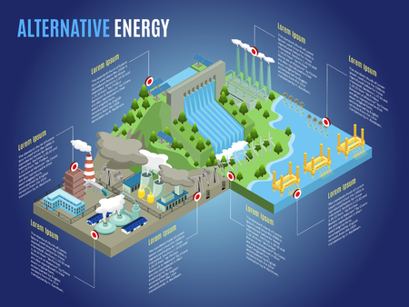 Ilustración de Isometric alternative energy infographic template with windmills tidal wave lightning hydroelectric thermal biofuel nuclear power stations and plants vector illustration - Imagen libre de derechos
