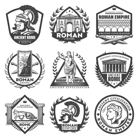 Illustration for Vintage monochrome roman empire labels set with Caesar ancient buildings gladiator helmet sword shield chariot columns laurel wreathes isolated vector illustration - Royalty Free Image