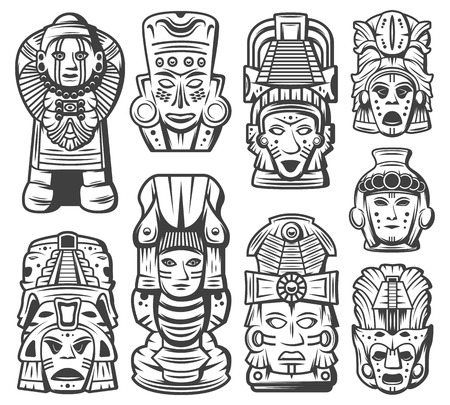 Illustration for Vintage monochrome maya civilization objects collection with tribal ceremonial masks and aztec totems isolated vector illustration - Royalty Free Image