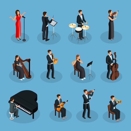 Ilustración de Isometric people in orchestra collection with conductor singer and musicians playing different musical instruments isolated vector illustration - Imagen libre de derechos