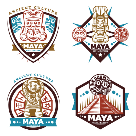 Illustration for Vintage colored maya civilization emblems set with tribal mask totems idols aztec pyramid mayan calendar isolated vector illustration - Royalty Free Image