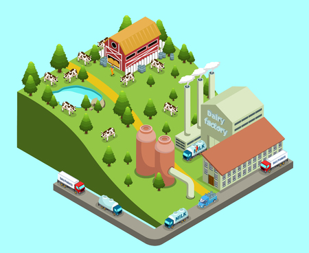 Ilustración de Isometric dairy factory concept with farm and plant buildings cows farmer transport for products delivery isolated vector illustration - Imagen libre de derechos
