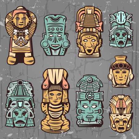 Illustration for Vintage colored aztec masks set with tribal ceremonial inca totems and idols isolated vector illustration - Royalty Free Image