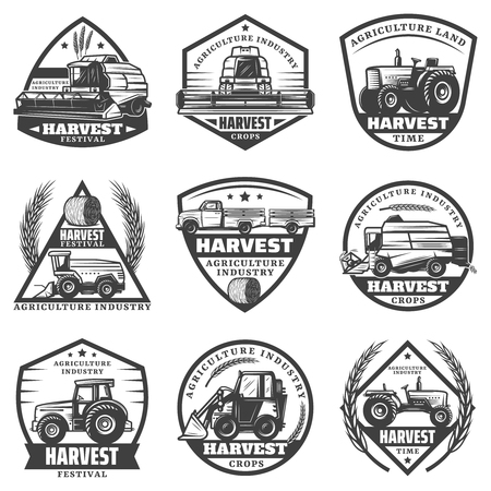 Illustration pour Vintage monochrome agricultural machinery labels set with combines harvesting vehicles loader tractors truck for crop transportation isolated vector illustration - image libre de droit