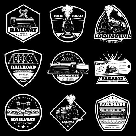 Illustration for Vintage white locomotive train labels set with railroad wagons ticket traffic light on black background isolated vector illustration - Royalty Free Image