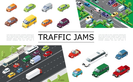 Illustration pour Isometric traffic jam concept with urban transport moving on road automobiles of different types and models vector illustration - image libre de droit