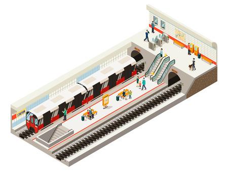 Ilustración de Isometric subway station concept with train ticket gates information board escalator railroad benches passengers on platform isolated vector illustration - Imagen libre de derechos