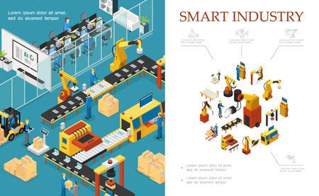 Illustrazione per Isometric modern industrial production composition with automated assembly and packaging lines robotic arms engineers operators vector illustration - Immagini Royalty Free
