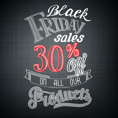 Ilustración de Typographic Black Friday announcement with advertising text and percent rate on dark background vector illustration - Imagen libre de derechos