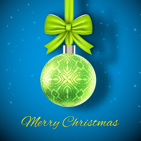 Ilustración de Glowing green christmas ball on blue background with dark corners and snowflakes flat vector illustration - Imagen libre de derechos