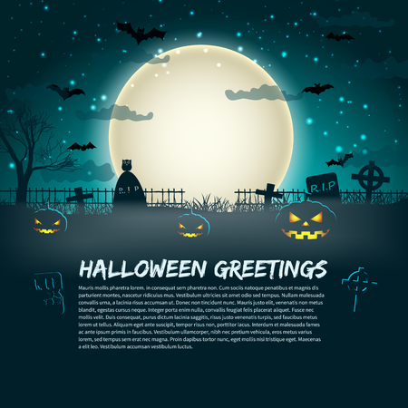 Ilustración de Halloween greetings poster with cemetery gravestones at glowing moon in star sky background flat - Imagen libre de derechos