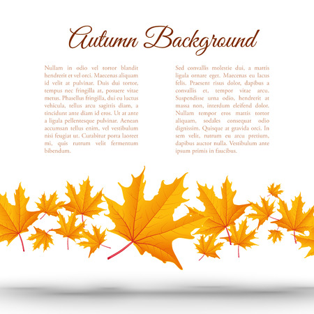 Illustration pour Abstract light autumn floral template with text and falling orange maple leaves on white background - image libre de droit