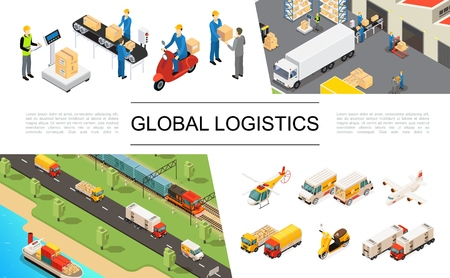 Illustration pour Isometric global logistics elements set with helicopter trucks airplane scooter ship train warehouse storage workers loading and weighing processes vector illustration - image libre de droit