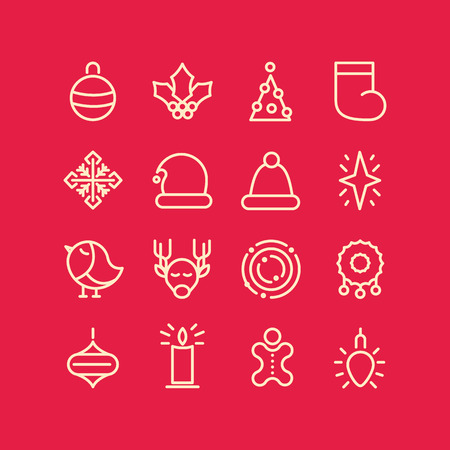 Illustration for Christmas design stylish set decorative icons on red field such as sock bird garland snowflake star vector illustration - Royalty Free Image