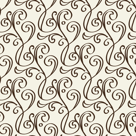 Illustration pour Decorative floral vintage seamless pattern formed from black monochrome lines in baroque style - image libre de droit