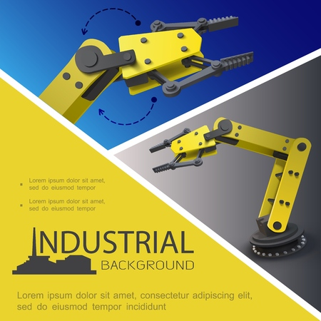 Illustration for Realistic industrial composition with automated robotic arms on blue and gray - Royalty Free Image