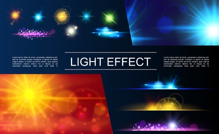 Ilustración de Realistic light elements concept with bright flares spots glittering sparkling and sunlight effects vector illustration - Imagen libre de derechos