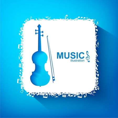 Illustration pour Music design concept with blue cello white square and musical elements on light background isolated vector illustration - image libre de droit