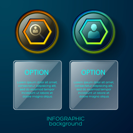 Illustration pour Conceptual composition of two isolated infographic columns each with pictogram and square text place available for editing - image libre de droit