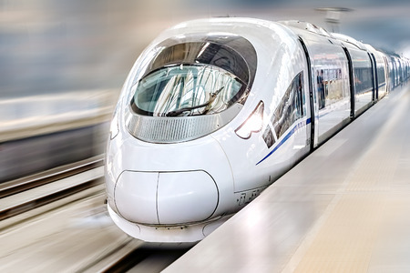Foto per Modern Hi-Speed  Passenger Train. Motion effect. - Immagine Royalty Free