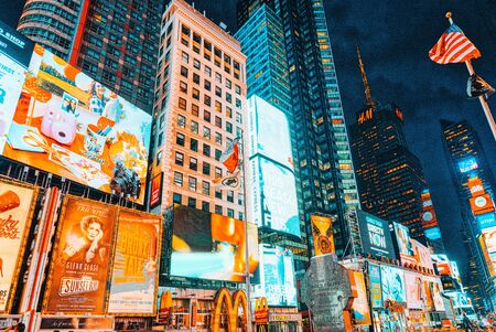 Foto für New York, USA- September 06, 2017 : Night view of Times Square-central and main square of New York. Street, cars, people and tourists on it. - Lizenzfreies Bild