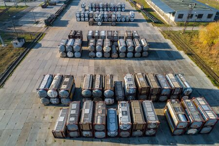 Foto per large street warehouse of tankers shooting from a drone, in summer, on a Sunny day - Immagine Royalty Free