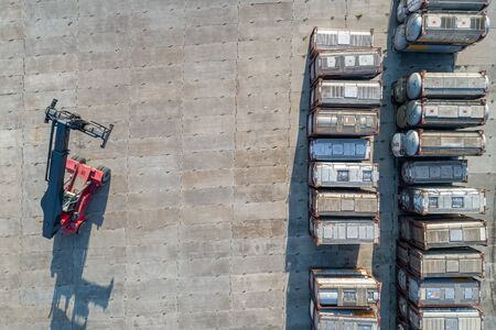 Foto per large street warehouse of tankers shooting from a height - Immagine Royalty Free