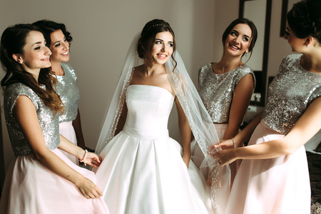 Photo pour Beautiful bride and her beautiful bridesmaids - image libre de droit