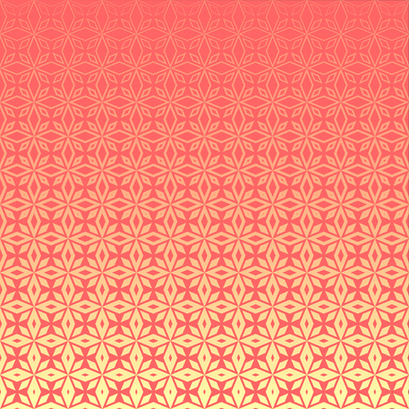 Illustration pour Abstract geometric floral outline pattern with halftone effect. Light pink rhombus-shaped petals on pink background. Textile print design for bed linen, pillows, bags, wrapping paper. - image libre de droit