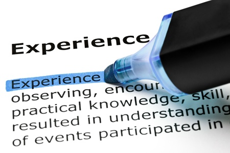 Photo for The word Experience highlighted in blue with felt tip pen - Royalty Free Image