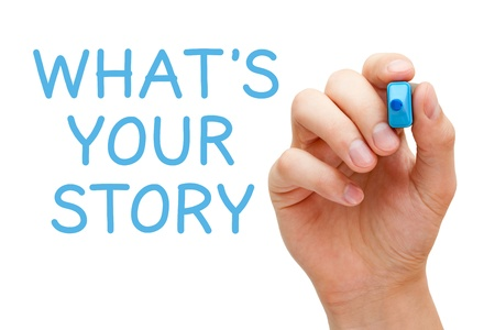 Photo pour Hand writing What's Your Story with blue marker on transparent wipe board. - image libre de droit