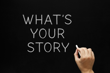 Photo for Hand writing What's Your Story question with white chalk on a blackboard. - Royalty Free Image
