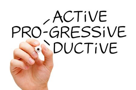 Foto de Hand writing Proactive Progressive Productive with black marker on transparent wipe board. - Imagen libre de derechos