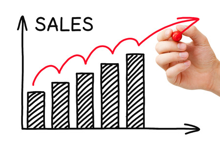 Foto de Hand drawing Sales Growth Graph with marker on transparent wipe board. - Imagen libre de derechos