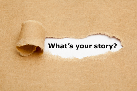 Photo for The text What's Your Story appearing behind torn brown paper. - Royalty Free Image