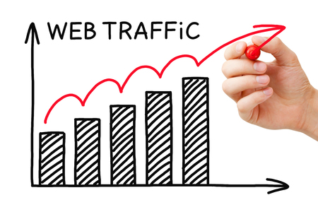 Foto de Hand drawing Web Traffic graph concept with marker on transparent wipe board. - Imagen libre de derechos