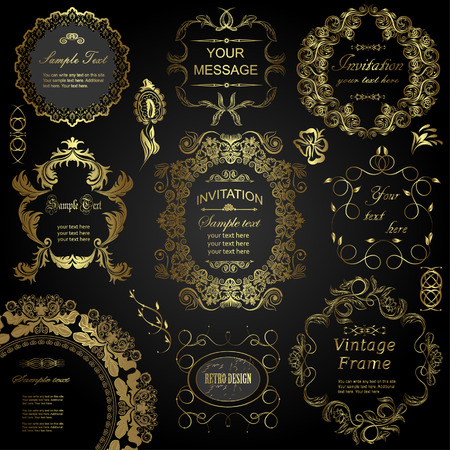 Illustration for vector set: calligraphic design elements and floral frames. All objects are grouped separately. - Royalty Free Image